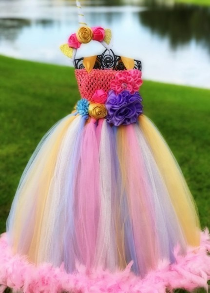 Adult Unicorn Tutu Dress And Unicorn Headband Set