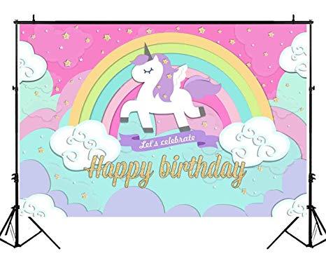 Amazon Com   Funnytree 7x5ft Polyester Unicorn Backdrop For Girls