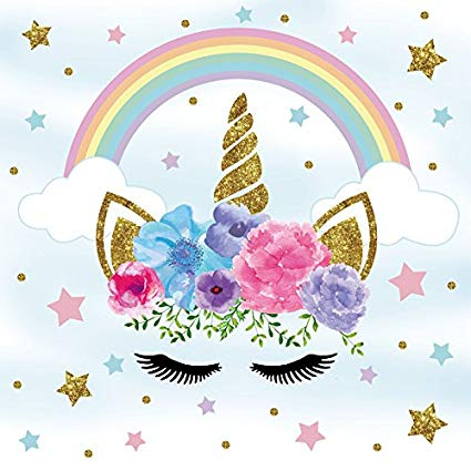 Amazon Com   Ofila Unicorn Backdrop 5x5ft Rainbow Flowers Stars