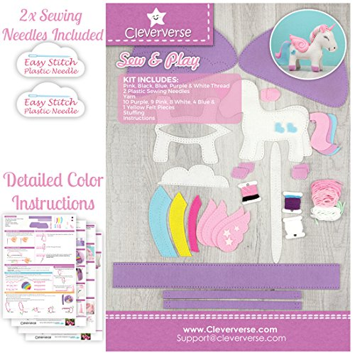 Amazon Com  Cleververse Unicorn Plush Toy Sewing Kit For Girls
