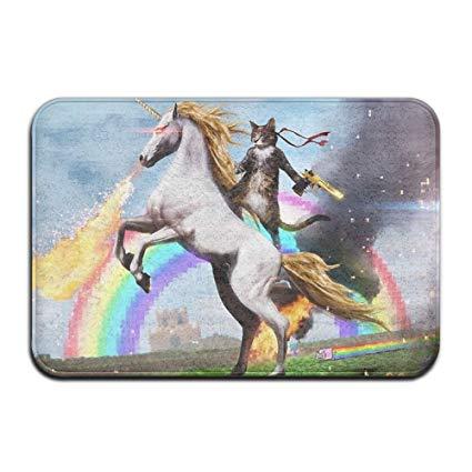 Amazon Com  Fashion 3d Print Door Mat Cat Warrior Riding Unicorn