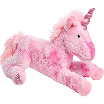 """Amazon Com  Girlzone  Large 18"""" Pink Plush Stuffed Fluffy Unicorn"""