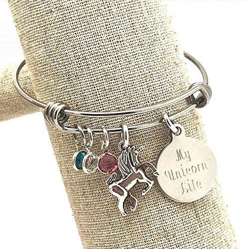 Amazon Com  My Unicorn Life, Engraved Bangle Bracelet With