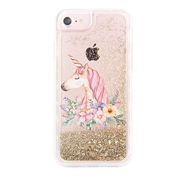 Amazon Com  Ucolor Gold Glitter Floral Unicorn Case For Iphone 6s
