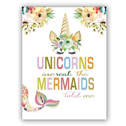Amazon Com  Unicorn Mermaids Art Print Set Of 1 (12 X16 Watercolor