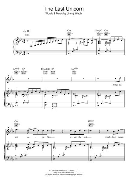 America  The Last Unicorn  Sheet Music Notes, Chords