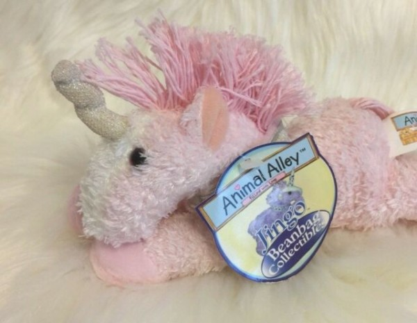 Animal Alley Pink Unicorn Plush Stuffed Beanbag Jingo Silver Horn