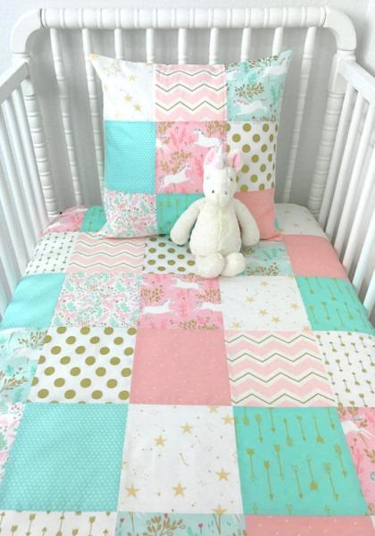 Baby Girl Blanket, Unicorn Nursery Decor, Baby Bedding