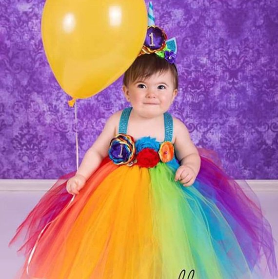Beautiful Baby Girl First Birthday Tutu Dress Unicorn Theme In