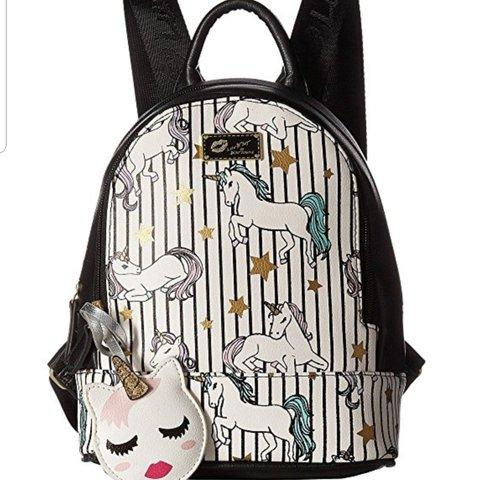 Betsey Johnson Luv Betsey Mini Unicorn Backpack  Faux Zipper