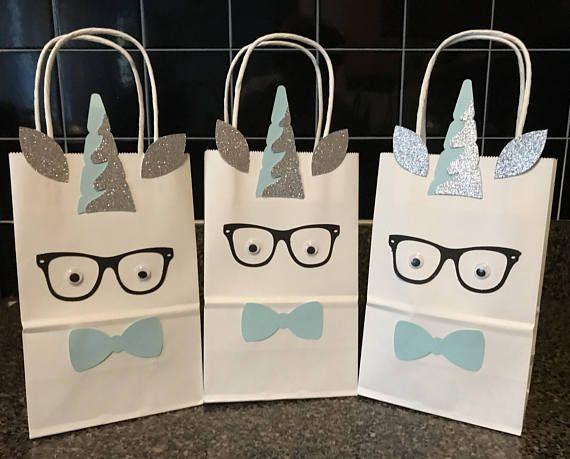 Boy Unicorn Party Favor Bag, Boy Favor Box, Treat Bag , Candy Bag