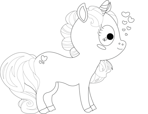 Cartoon Unicorn Coloring Page