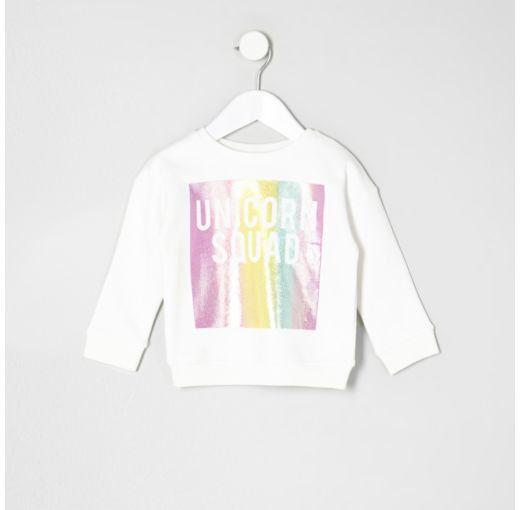 Checkout This Mini Girls White Unicorn Squad Rainbow Sweat From