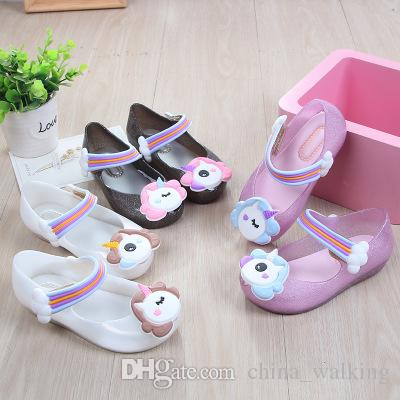 Children Unicorn Shoes Mini Melissa Princess Sandals Cartoon Jelly