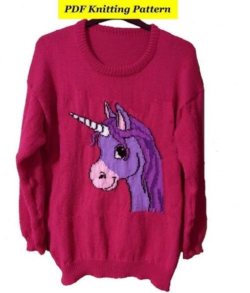 Childrens & Adults Cute Unicorn Jumper   Sweater Knitting