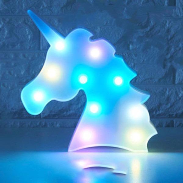 Colorful Unicorn Head Led Night Light Up Table Lamp Kids Bedroom