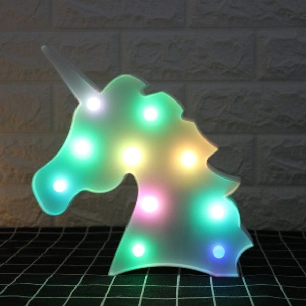 Creative Colorful Unicorn Head Led Night Light Up 3d Table Lamp