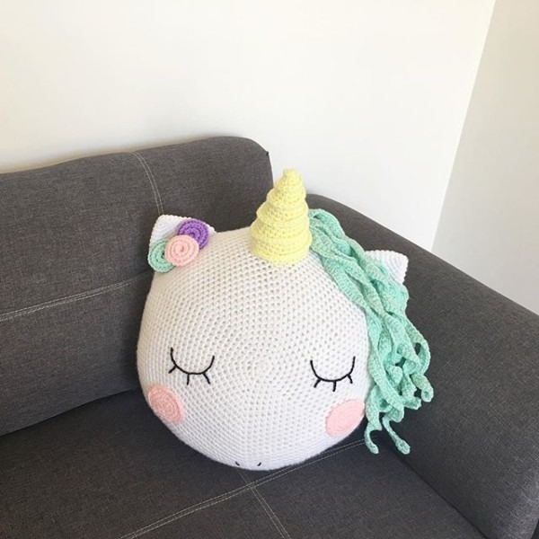 Crocheted Unicorn Cushion Pillow And Guess What! The Crochet