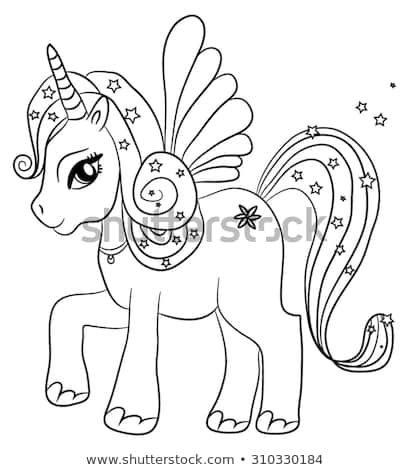 Cute Cartoon Fairytale Unicorn Coloring Page Stock Vector (royalty