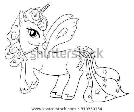 Cute Cartoon Fairytale Unicorn Coloring Page Stock Vector (royalty