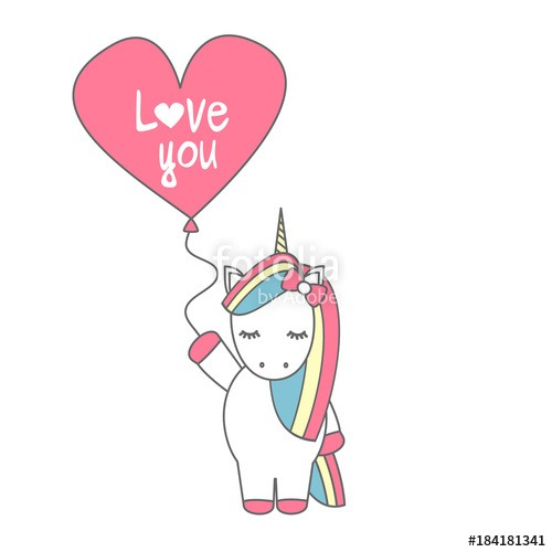Cute Cartoon Vector Unicorn With Balloon With Hand Drawn Lettering