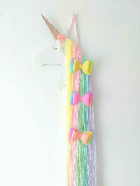 Cute Rainbow Unicorn Hair Bow Holder, Designed For You To Clip All