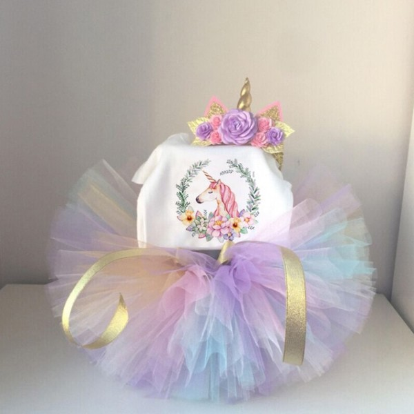 Cute Unicorn 1 Year Baby Kids Girls 1st Birthday Party Outfits