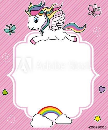 Cute Unicorn Card  Frame With Space For Text