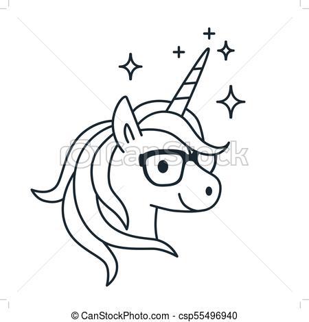 Cute Unicorn Wearing Eyeglasses Single Color Outline Illustration