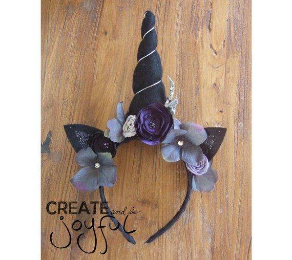 Dark Unicorn Horn Headband Black Unicorn Purple Flower Crown