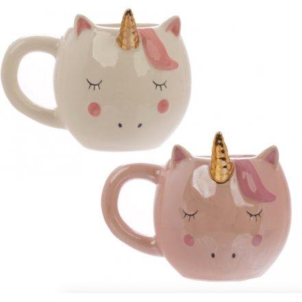 Enchanted Unicorn Shaped Ceramic Mug, 2 Assorted