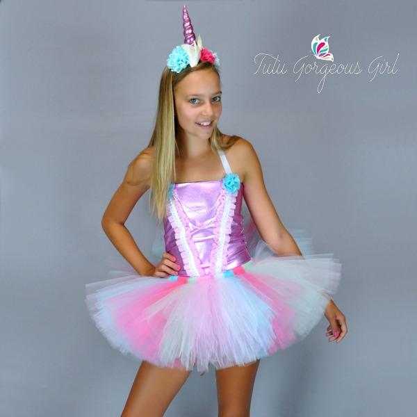 Enchanting Light Pink And Aqua Unicorn Princess Birthday Tutu, Top