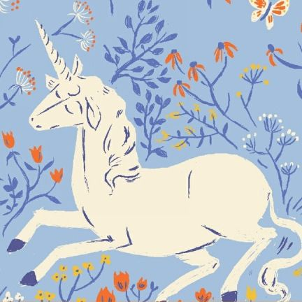 Fabric Far Far Away Unicorn On Blue By Heather Ross For Windham