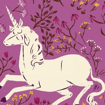 Fabric Far Far Away Unicorn On Purple By Heather Ross For