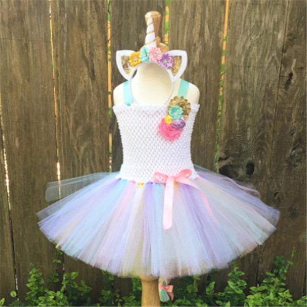 Fancy Rainbow Princess Pony Unicorn Dress Girls