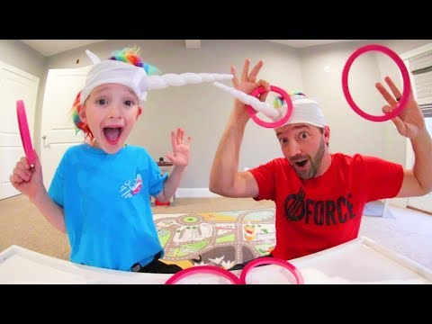 Father& Son Play Unicorn Magic Ring Toss Game!