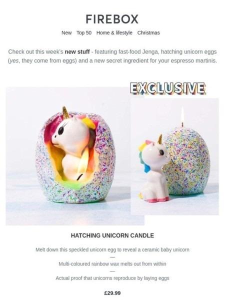 Firebox Unicorn Candle
