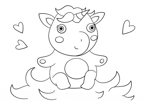 First Rate Coloring Pages Of Baby Unicorns Cute Unicorn Page Free
