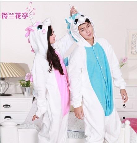 Flannel Coral Fleece Warm Animal Blue Pink Unicorn Pajamas Cos