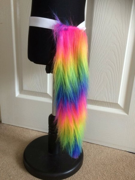Fluffy Rainbow Cat Or Unicorn Tail