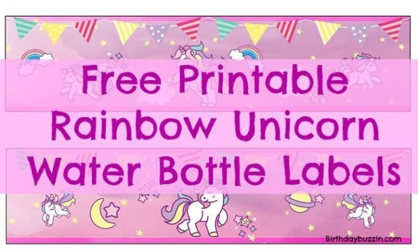 Free Printable Rainbow Unicorn Water Bottle Labels
