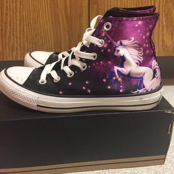 Galaxy Unicorn High Top Black And Purple Converse