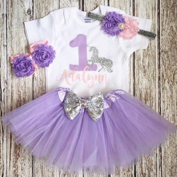 Girls First Birthday Outfit, Pink Lavender Silver,unicorn Theme