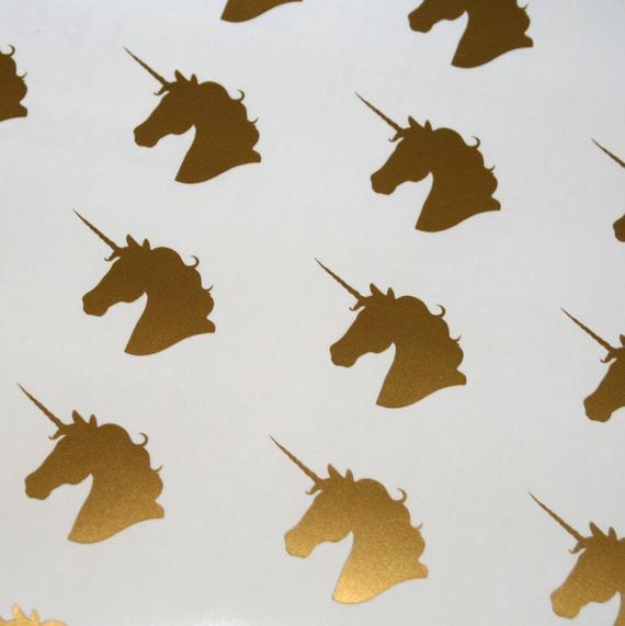 Gold Unicorn Head Vinyl Decals