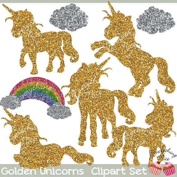 Golden Unicorns Gold Glitter Unicorn Silhouettes Clipart Set