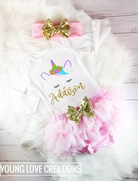 How Adorable Is This Personalized Unicorn Outfit In Pink And Gold