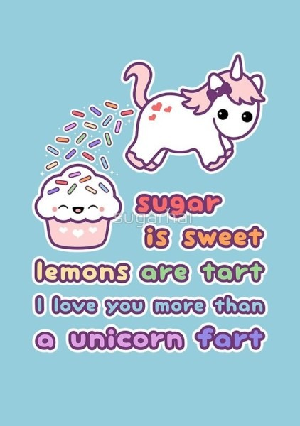 I Love You More Than A Unicorn Fart' Greeting Card By Sugarhai