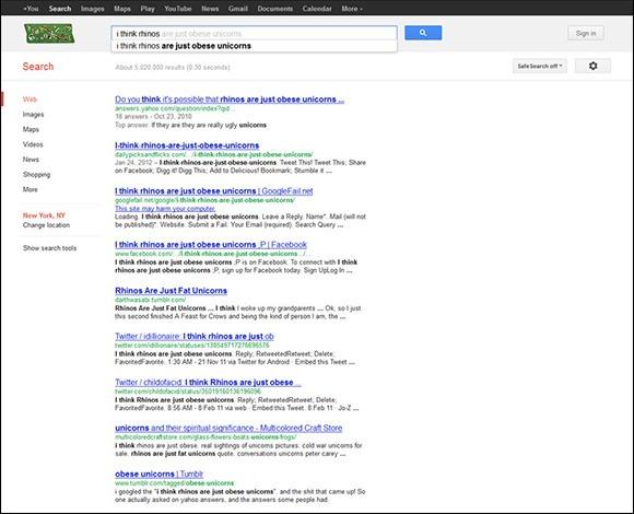 I Think Rhinos Are Just Obese Unicorns Google Screenshot