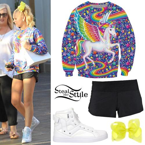 Jojo Siwa  Unicorn Sweatshirt, Black Shorts