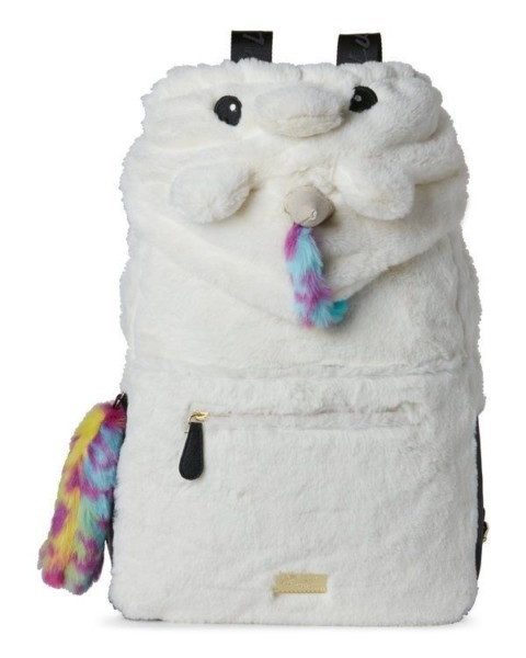 Luv Betsey Johnson Unicorn Backpack Hoodie Furry Faux Fur Bag